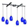 Mulinello 6 Light Pendant In Satin Nickel And Sapphire Glass