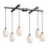 ELK lighting Mulinello 6 Light Pendant In Satin Nickel And White Swirl Glass