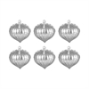 Pointed Ball Set of 6 Ornaments In Silver