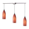 Cilindro 3 Light Pendant In Satin Nickel And Multi Glass