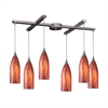Cilindro 6 Light Pendant In Satin Nickel And Multi Glass