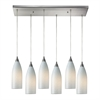 Cilindro 6 Light Pendant In Satin Nickel And White Swirl Glass
