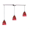 ELK lighting Pierra 3 Light Pendant In Satin Nickel And Autumn Glass