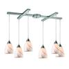 Pierra 6 Light Pendant In Satin Nickel And Cream Glass