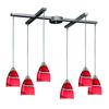 Pierra 6 Light Pendant In Satin Nickel And Candy Glass