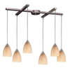 ELK lighting Pierra 6 Light Pendant In Satin Nickel And Sandy Glass