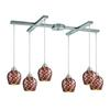 ELK lighting Fusion 6 Light Pendant In Satin Nickel And Multi Glass