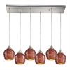 ELK lighting Fusion 6 Light Pendant In Satin Nickel And Copper Glass