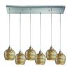 ELK lighting Fusion 6 Light Pendant In Satin Nickel And Gold Leaf Glass
