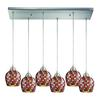 Fusion 6 Light Pendant In Satin Nickel And Multi Glass