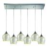 Fusion 6 Light Pendant In Satin Nickel And Silver Glass