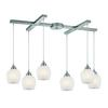 Fusion 6 Light Pendant In Satin Nickel And White Glass