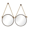 Set Of 2 Mirrors On Rope- Round