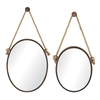 Set Of 2 Mirrors On Rope- Oval