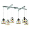 Gemstones 6 Light Pendant In Satin Nickel And Sculpted Multicolor Glass