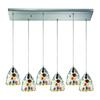 ELK lighting Gemstones 6 Light Pendant In Satin Nickel And Sculpted Multicolor Glass