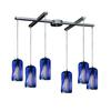 ELK lighting Molten 6 Light Pendant In Satin Nickel And Molten Ocean Glass