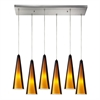 Desert Winds 6 Light Pendant In Satin Nickel And Sahara Glass