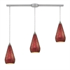 Curvalo 3 Light Pendant In Satin Nickel And Ruby Crackle Glass