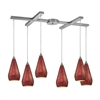 ELK lighting Curvalo 6 Light Pendant In Satin Nickel And Ruby Crackle Glass