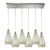 Curvalo 6 Light Pendant In Satin Nickel And Silver Crackle Glass