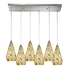 Curvalo 6 Light Pendant In Satin Nickel And Silver Mutli Crackle Glass