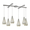 ELK lighting Curvalo 6 Light Pendant In Satin Nickel And Silver Crackle Glass