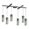 Maple 6 Light Pendant In Satin Nickel And Maple Dusk Glass