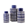 Cupola Set of 3 Jars, Dark Navy,White