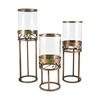 Pomeroy Tower Set of 3 Lighting, Antique Brass,Clear