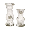 Castleton Set of 2 Candlesticks, Antique White Crackle