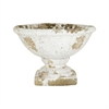 Castleton Garden Pedestal Bowl, Antique White Crackle