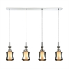 Alora 4 Light Linear Pan Pendant In Polished Chrome With Opal White Glass Inside Smoke Plated Glass