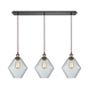 Raindrop Glass 3 Light Linear Pan Pendant In Antique Brass/Oil Rubbed Bronze With Clear Raindrop Glass