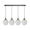 Raindrop Glass 4 Light Linear Pan Pendant In Antique Brass/Oil Rubbed Bronze With Clear Raindrop Glass