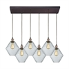 Raindrop Glass 6 Light Rectangle Pendant In Antique Brass/Oil Rubbed Bronze With Clear Raindrop Glass