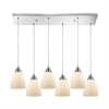 Merida 6 Light Rectangle Pendant In Polished Chrome With Opal White Linen Glass