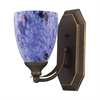 Bath And Spa 1 Light Vanity In Aged Bronze And Starburst Blue Glass
