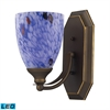 Bath And Spa 1 Light LED Vanity In Aged Bronze And Starburst Blue Glass