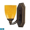 ELK lighting Bath And Spa 1 Light LED Vanity In Aged Bronze And Canary Glass