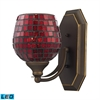Bath And Spa 1 Light LED Vanity In Aged Bronze And Copper Glass