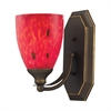 ELK lighting Bath And Spa 1 Light Vanity In Aged Bronze And Fire Red Glass