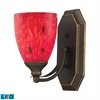 Bath And Spa 1 Light LED Vanity In Aged Bronze And Fire Red Glass