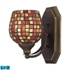 Bath And Spa 1 Light LED Vanity In Aged Bronze And Multi Fusion Glass