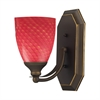 Bath And Spa 1 Light Vanity In Aged Bronze And Scarlet Red Glass