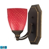 Bath And Spa 1 Light LED Vanity In Aged Bronze And Scarlet Red Glass