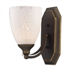 ELK lighting Bath And Spa 1 Light Vanity In Aged Bronze And Snow White Glass