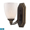 ELK lighting Bath And Spa 1 Light LED Vanity In Aged Bronze And Snow White Glass