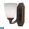 Bath And Spa 1 Light LED Vanity In Aged Bronze And Simple White Glass