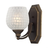 ELK lighting Bath And Spa 1 Light Vanity In Aged Bronze And White Glass
